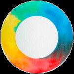 photographie du cercle chromatique fait des trois couleurs primaire à l'aquarelle