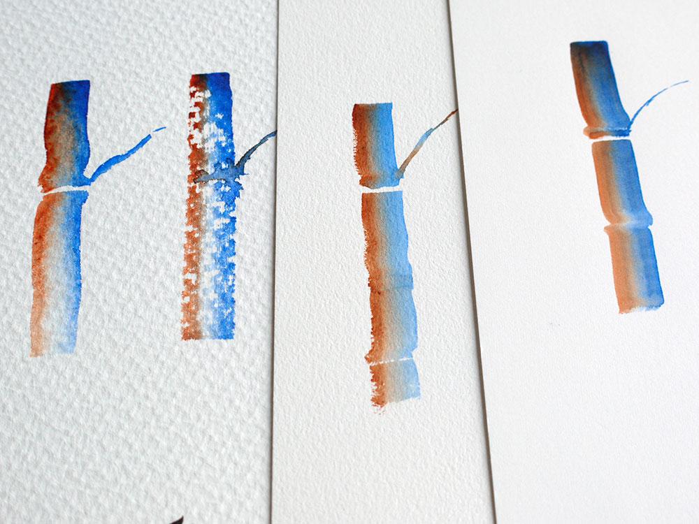 trois typologies de papier aquarelle - torchon, grain fin, satiné